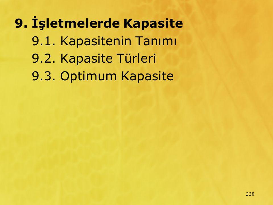 228 9. İşletmelerde Kapasite 9.1. Kapasitenin Tanımı 9.2. Kapasite Türleri 9.3. Optimum Kapasite