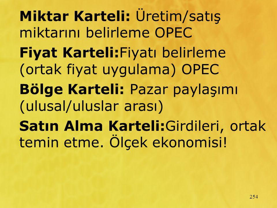 254 Miktar Karteli: Üretim/satış miktarını belirleme OPEC Fiyat Karteli:Fiyatı belirleme (ortak fiyat uygulama) OPEC Bölge Karteli: Pazar paylaşımı (ulusal/uluslar arası) Satın Alma Karteli:Girdileri, ortak temin etme.