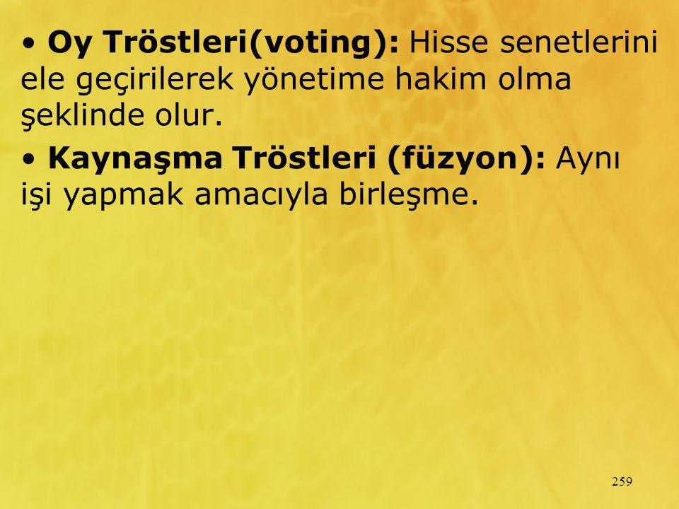 259 Oy Tröstleri(voting): Hisse senetlerini ele geçirilerek yönetime hakim olma şeklinde olur. Kaynaşma Tröstleri (füzyon): Aynı işi yapmak amacıyla b