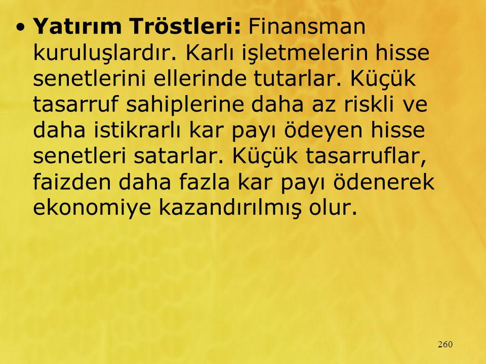 260 Yatırım Tröstleri: Finansman kuruluşlardır.