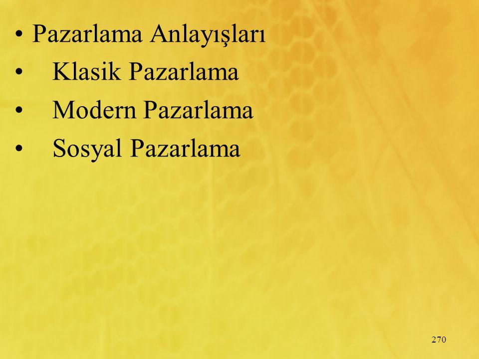 270 Pazarlama Anlayışları Klasik Pazarlama Modern Pazarlama Sosyal Pazarlama
