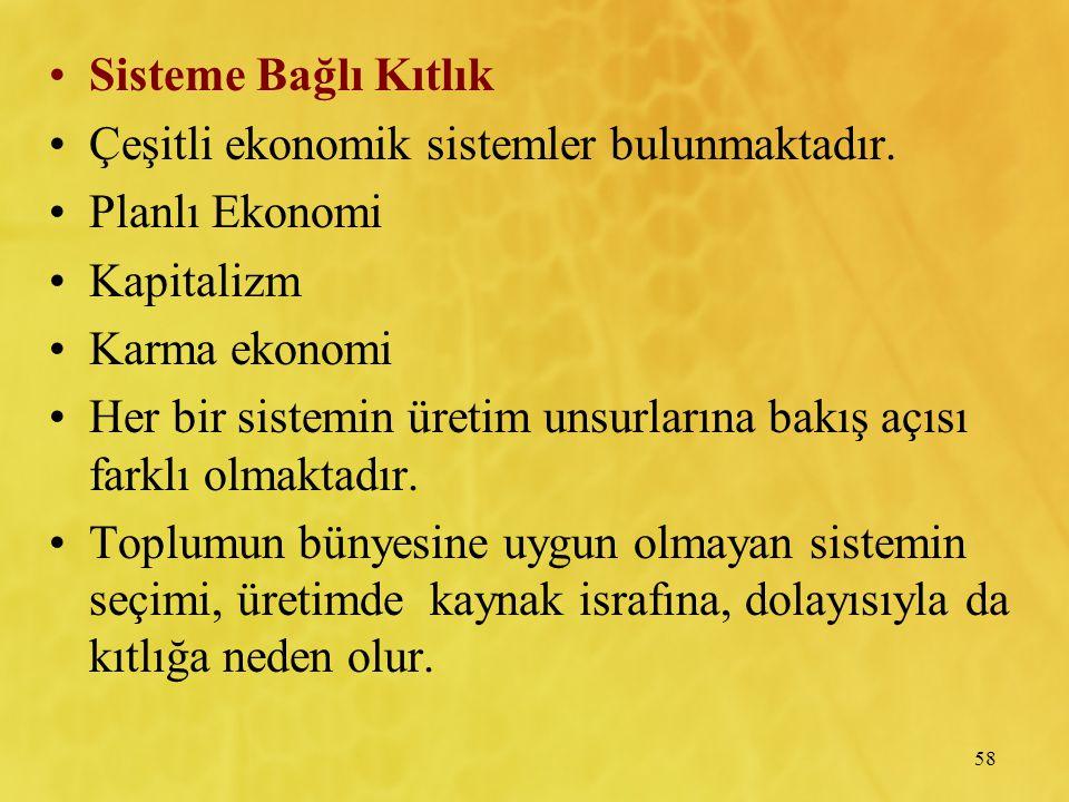58 Sisteme Bağlı Kıtlık Çeşitli ekonomik sistemler bulunmaktadır. Planlı Ekonomi Kapitalizm Karma ekonomi Her bir sistemin üretim unsurlarına bakış aç