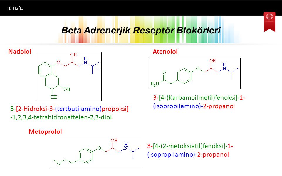 1. Hafta 3-(1-Naftiloksi)-1-(isopropilamino)-2-propanol Propranolol Oksprenolol 3-[2-(2-Propeniloksi)fenoksi]-1- (isopropilamino)-2-propanol 3-(1H-İnd