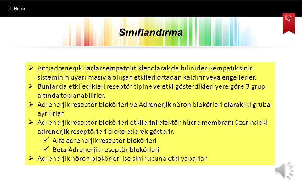 Hazırlayan FARMASÖTİK KİMYA II Antiaadrenerjik İlaçlar Prof. Dr. İlhan IŞIKDAĞ