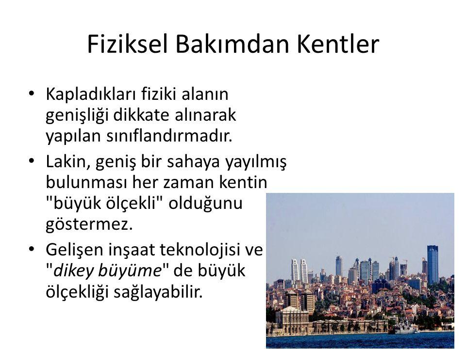 Biçimsel Bakımdan Kentler Kentler, yerleşme alanının biçimine göre gruplanabilir: – Dairevi şekle sahip kentler – Şerit şekline sahip kentler – Parçalı şekle sahip kentler – Çok merkezli şekle sahip kentler