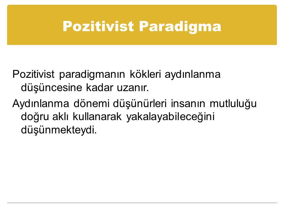 Pozitivist Paradigma Pozitivist paradigmanın kökleri aydınlanma düşüncesine kadar uzanır.