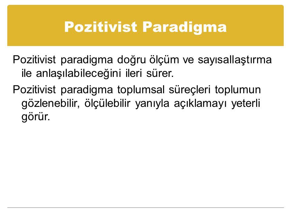 Pozitivist Paradigma Pozitivist paradigma doğru ölçüm ve sayısallaştırma ile anlaşılabileceğini ileri sürer.