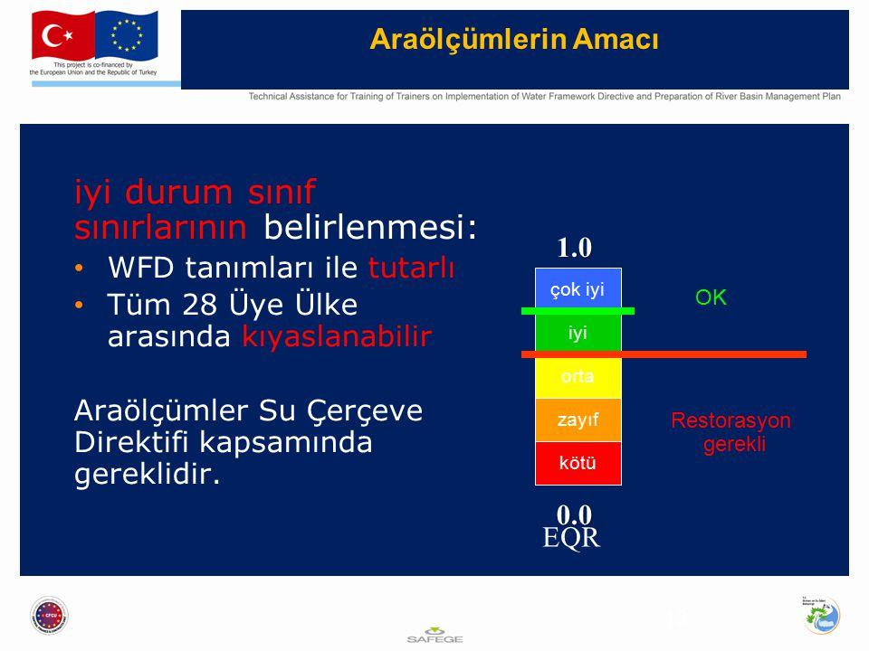 Araölçümlerin Amacı 13 iyi durum sınıf sınırlarının belirlenmesi: WFD tanımları ile tutarlı Tüm 28 Üye Ülke arasında kıyaslanabilir Araölçümler Su Çerçeve Direktifi kapsamında gereklidir.