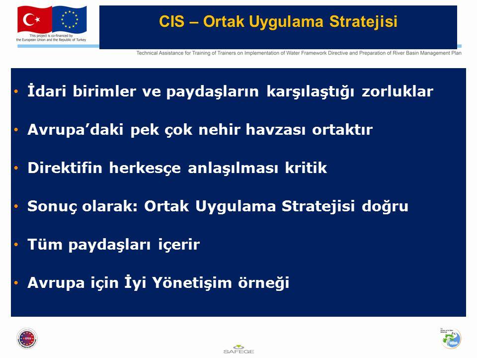 İdari birimler ve paydaşların karşılaştığı zorluklar Avrupa'daki pek çok nehir havzası ortaktır Direktifin herkesçe anlaşılması kritik Sonuç olarak: Ortak Uygulama Stratejisi doğru Tüm paydaşları içerir Avrupa için İyi Yönetişim örneği CIS – Ortak Uygulama Stratejisi