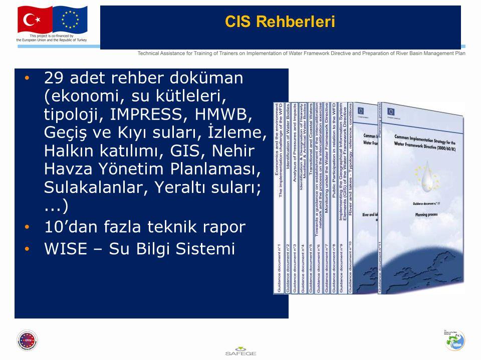 29 adet rehber doküman (ekonomi, su kütleleri, tipoloji, IMPRESS, HMWB, Geçiş ve Kıyı suları, İzleme, Halkın katılımı, GIS, Nehir Havza Yönetim Planlaması, Sulakalanlar, Yeraltı suları;...) 10'dan fazla teknik rapor WISE – Su Bilgi Sistemi CIS Rehberleri