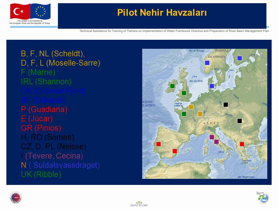 Pilot Nehir Havzaları B, F, NL (Scheldt), D, F, L (Moselle-Sarre) F (Marne) IRL (Shannon) DK (Odense Fjord) SF (Oulujoki) P (Guadiana) E (Júcar) GR (Pinios) H, RO (Somes) CZ, D, PL (Neisse) I (Tevere, Cecina) N ( Suldalsvassdraget) UK (Ribble)