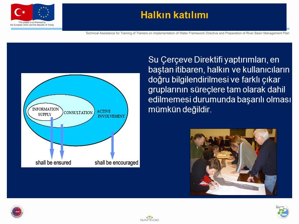 Halkın katılımı Su Çerçeve Direktifi yaptırımları, en baştan itibaren, halkın ve kullanıcıların doğru bilgilendirilmesi ve farklı çıkar gruplarının süreçlere tam olarak dahil edilmemesi durumunda başarılı olması mümkün değildir.