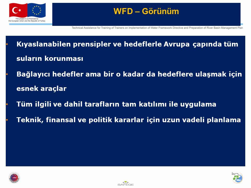 Kıyaslanabilen prensipler ve hedeflerle Avrupa çapında tüm suların korunması Bağlayıcı hedefler ama bir o kadar da hedeflere ulaşmak için esnek araçlar Tüm ilgili ve dahil tarafların tam katılımı ile uygulama Teknik, finansal ve politik kararlar için uzun vadeli planlama WFD – Görünüm