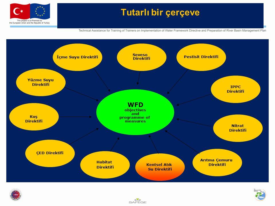 Tutarlı bir çerçeve Yüzme Suyu Direktifi Kuş Direktifi Habitat Direktifi Seveso Direktifi Pestisit Direktifi IPPC Direktifi Nitrat Direktifi Kentsel Atık Su Direktifi ÇED Direktifi Arıtma Çemuru Direktifi İçme Suyu Direktifi WFD objectives and programme of measures