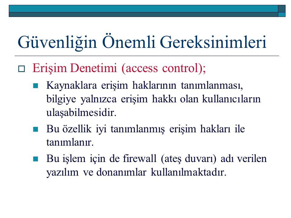 Güvenliğin Önemli Gereksinimleri  Erişim Denetimi (access control); Kaynaklara erişim haklarının tanımlanması, bilgiye yalnızca erişim hakkı olan kul