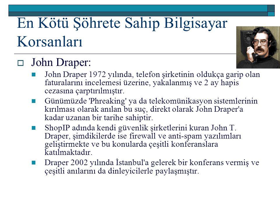 En Kötü Şöhrete Sahip Bilgisayar Korsanları  John Draper: John Draper 1972 yılında, telefon şirketinin oldukça garip olan faturalarını incelemesi üze