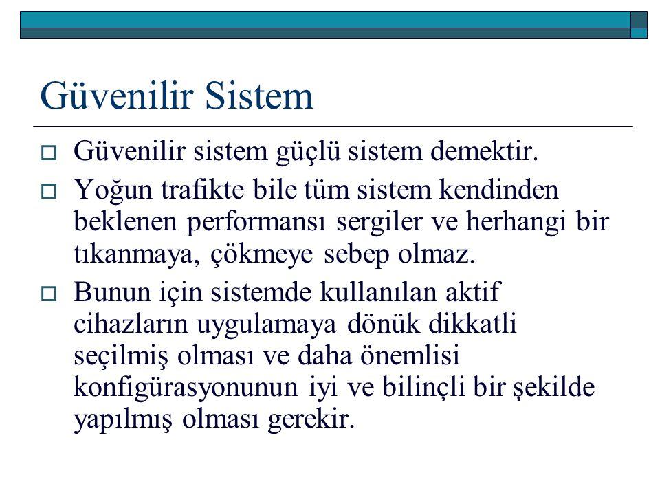 Güvenilir Sistem  Güvenilir sistem güçlü sistem demektir.  Yoğun trafikte bile tüm sistem kendinden beklenen performansı sergiler ve herhangi bir tı