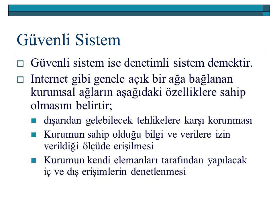 Güvenli Sistem  Güvenli sistem ise denetimli sistem demektir.  Internet gibi genele açık bir ağa bağlanan kurumsal ağların aşağıdaki özelliklere sah