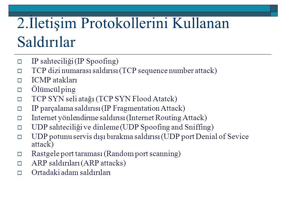 2.İletişim Protokollerini Kullanan Saldırılar  IP sahteciliği (IP Spoofing)  TCP dizi numarası saldırısı (TCP sequence number attack)  ICMP ataklar
