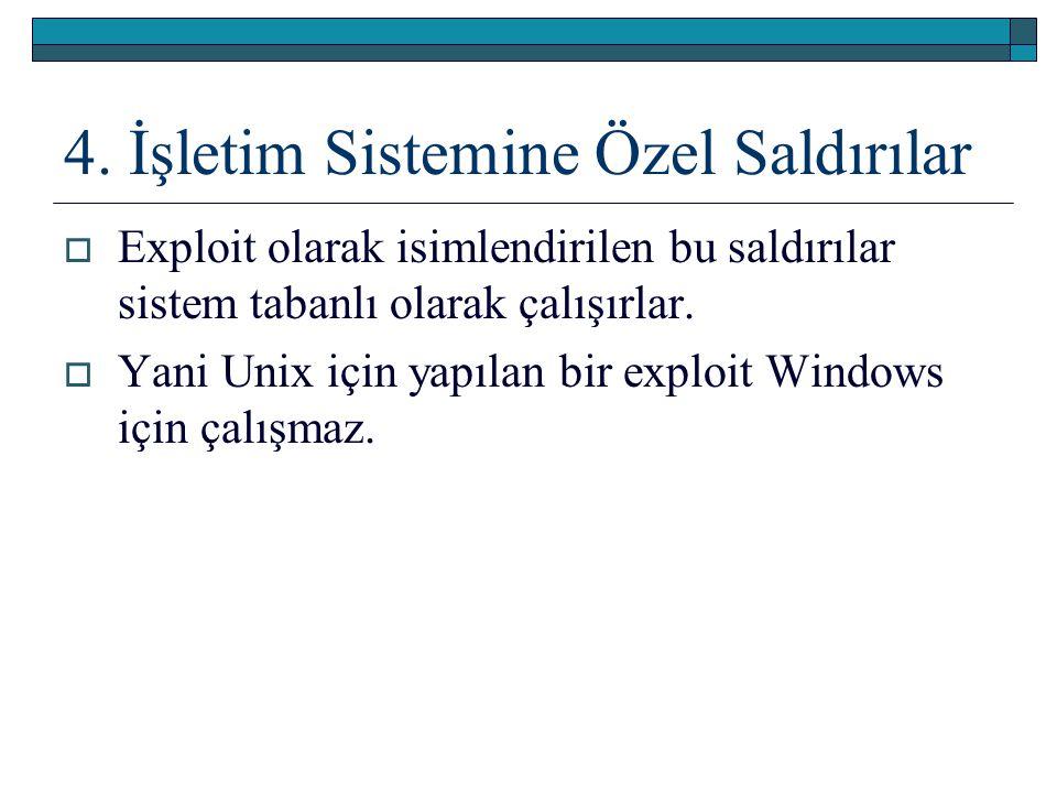 4. İşletim Sistemine Özel Saldırılar  Exploit olarak isimlendirilen bu saldırılar sistem tabanlı olarak çalışırlar.  Yani Unix için yapılan bir expl