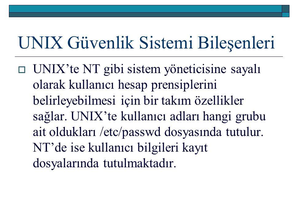 UNIX Güvenlik Sistemi Bileşenleri  UNIX'te NT gibi sistem yöneticisine sayalı olarak kullanıcı hesap prensiplerini belirleyebilmesi için bir takım öz