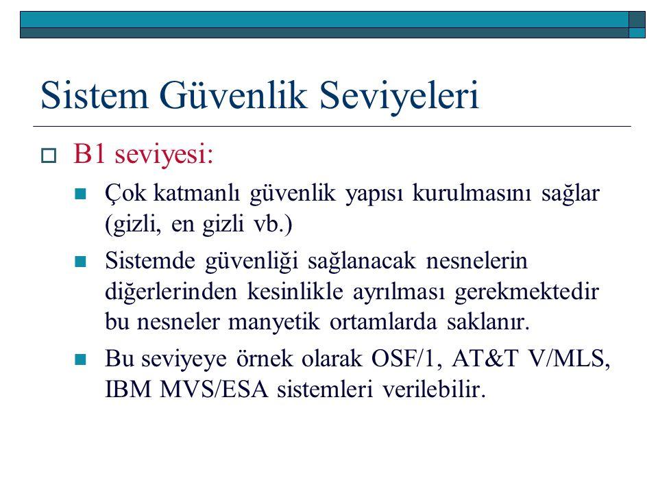 Sistem Güvenlik Seviyeleri  B1 seviyesi: Çok katmanlı güvenlik yapısı kurulmasını sağlar (gizli, en gizli vb.) Sistemde güvenliği sağlanacak nesneler