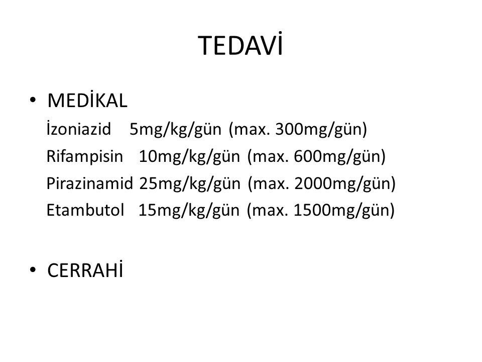 TEDAVİ MEDİKAL İzoniazid 5mg/kg/gün (max. 300mg/gün) Rifampisin 10mg/kg/gün (max. 600mg/gün) Pirazinamid 25mg/kg/gün (max. 2000mg/gün) Etambutol 15mg/
