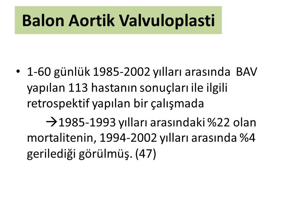 Balon Aortik Valvuloplasti 1-60 günlük 1985-2002 yılları arasında BAV yapılan 113 hastanın sonuçları ile ilgili retrospektif yapılan bir çalışmada  1