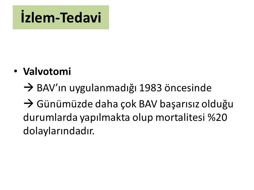 İzlem-Tedavi Valvotomi  BAV'ın uygulanmadığı 1983 öncesinde  Günümüzde daha çok BAV başarısız olduğu durumlarda yapılmakta olup mortalitesi %20 dola