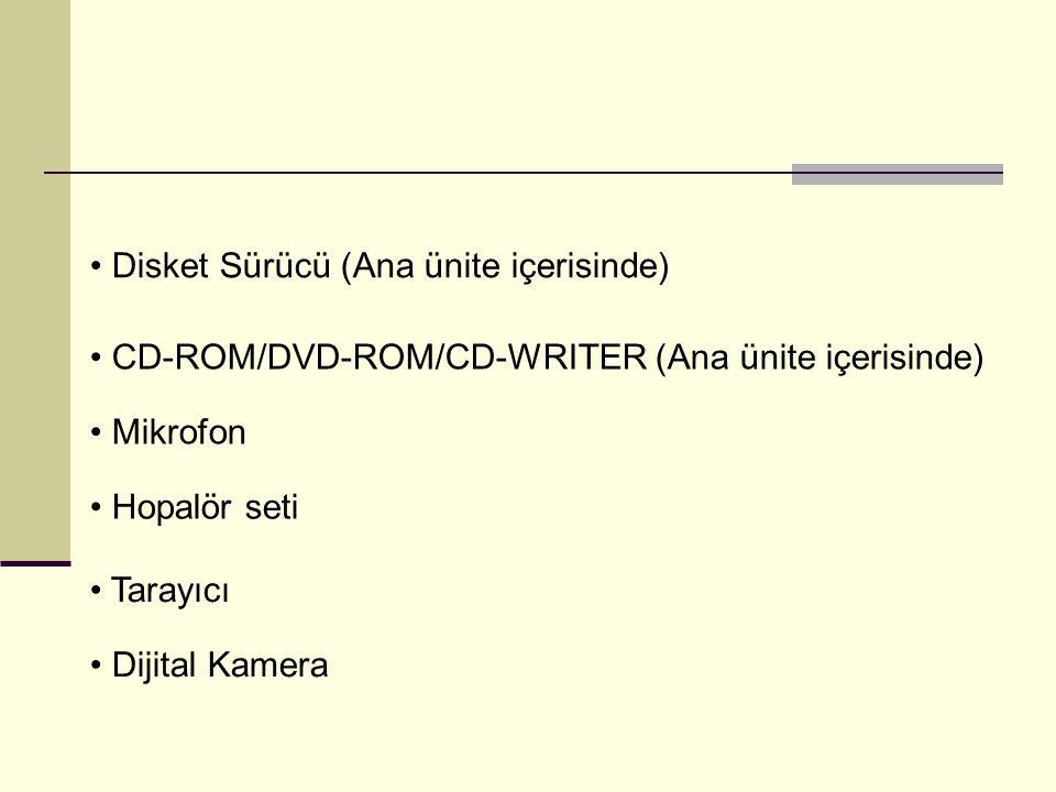 Disket Sürücü (Ana ünite içerisinde) CD-ROM/DVD-ROM/CD-WRITER (Ana ünite içerisinde) Mikrofon Hopalör seti Tarayıcı Dijital Kamera