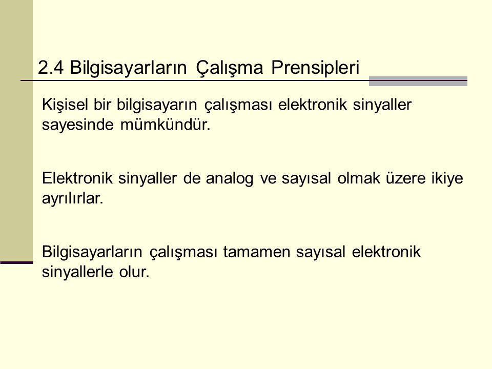 2.4 Bilgisayarların Çalışma Prensipleri Kişisel bir bilgisayarın çalışması elektronik sinyaller sayesinde mümkündür.