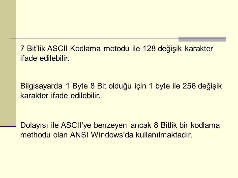7 Bit'lik ASCII Kodlama metodu ile 128 değişik karakter ifade edilebilir.
