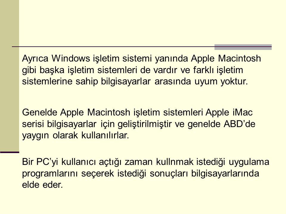 Ayrıca Windows işletim sistemi yanında Apple Macintosh gibi başka işletim sistemleri de vardır ve farklı işletim sistemlerine sahip bilgisayarlar arasında uyum yoktur.