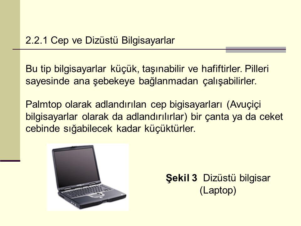 2.2.1 Cep ve Dizüstü Bilgisayarlar Bu tip bilgisayarlar küçük, taşınabilir ve hafiftirler.