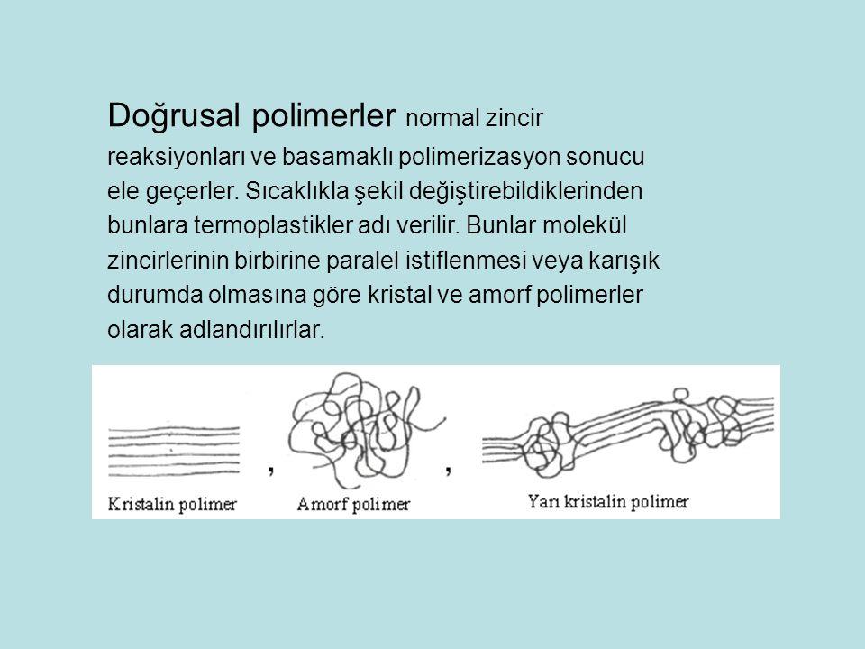 Doğrusal polimerler normal zincir reaksiyonları ve basamaklı polimerizasyon sonucu ele geçerler. Sıcaklıkla şekil değiştirebildiklerinden bunlara term