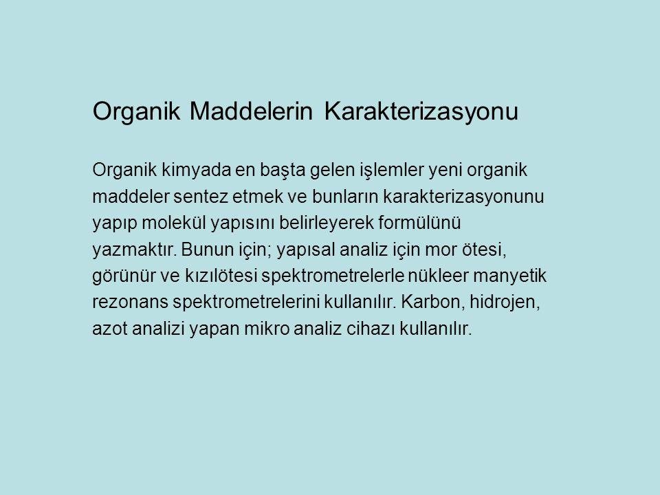 Organik Maddelerin Karakterizasyonu Organik kimyada en başta gelen işlemler yeni organik maddeler sentez etmek ve bunların karakterizasyonunu yapıp molekül yapısını belirleyerek formülünü yazmaktır.