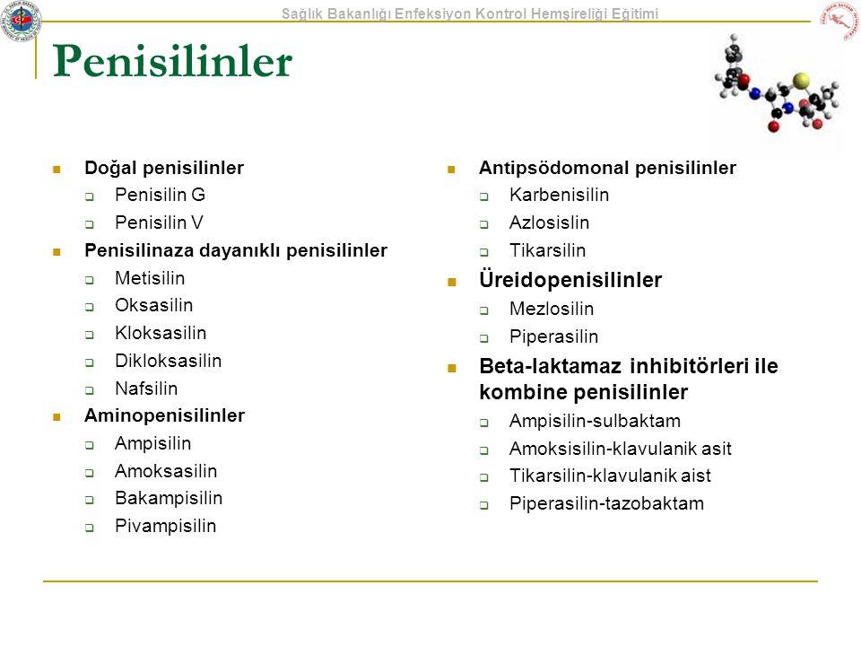 Sağlık Bakanlığı Enfeksiyon Kontrol Hemşireliği Eğitimi Penisilinler Doğal penisilinler  Penisilin G  Penisilin V Penisilinaza dayanıklı penisilinle