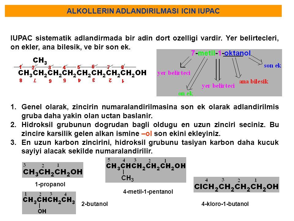 ALKOLLERIN ADLANDIRILMASI ICIN IUPAC IUPAC sistematik adlandirmada bir adin dort ozelligi vardir. Yer belirtecleri, on ekler, ana bilesik, ve bir son