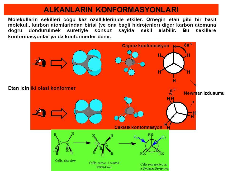 ALKANLARIN KONFORMASYONLARI Molekullerin sekilleri cogu kez ozelliklerinide etkiler. Ornegin etan gibi bir basit molekul., karbon atomlarindan birisi