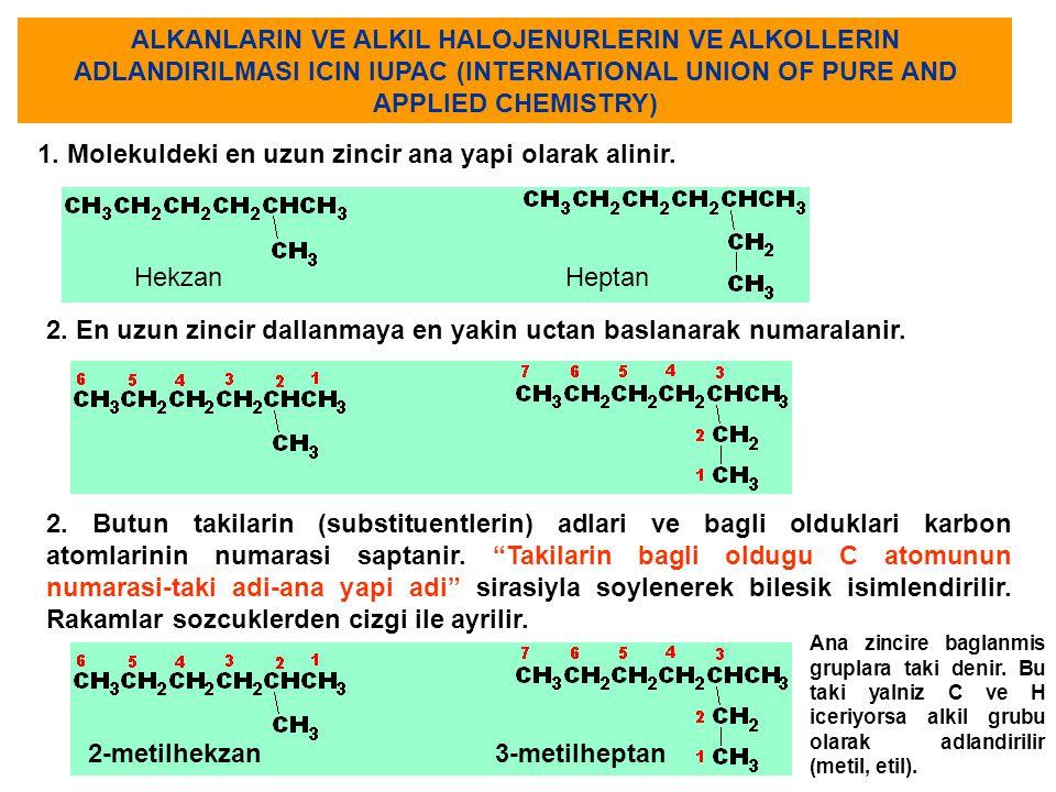 ALKANLARIN VE ALKIL HALOJENURLERIN VE ALKOLLERIN ADLANDIRILMASI ICIN IUPAC (INTERNATIONAL UNION OF PURE AND APPLIED CHEMISTRY) 1. Molekuldeki en uzun