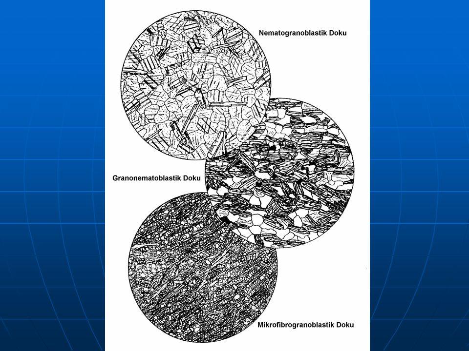 1.Kristaloblastik Doku Minerallerin büyüklüklerine göre tanımlanan kristaloblastik doku türleri: Kriptoblastik Doku Mikroblastik Doku Makroblastik Doku Metamorfik kayaç minerallerinin göreceli (rölatif) büyüklüklerine bağlı olarak iki ana grup altında toplanmaktadır; Homoblastik Doku Heteroblastik Doku (porfiroblastik)