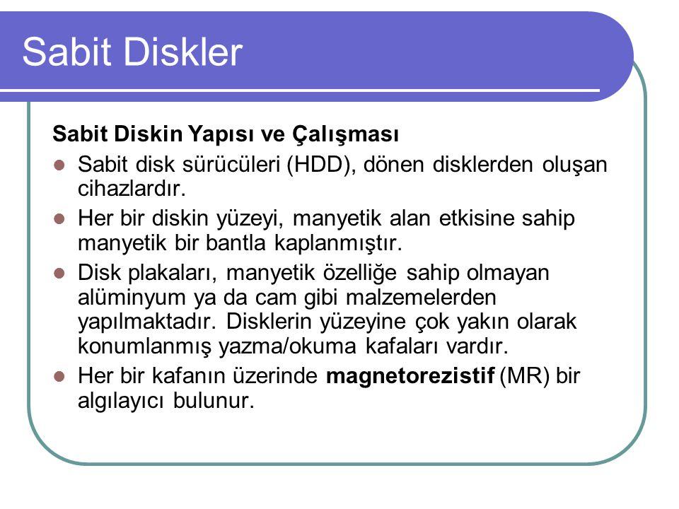 Sabit Diskin Yapısı ve Çalışması Sabit disk sürücüleri (HDD), dönen disklerden oluşan cihazlardır.