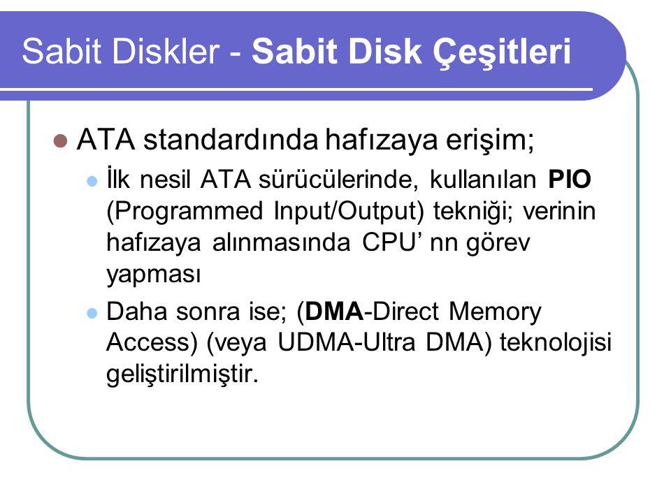 Sabit Diskler - Sabit Disk Çeşitleri ATA standardında hafızaya erişim; İlk nesil ATA sürücülerinde, kullanılan PIO (Programmed Input/Output) tekniği; verinin hafızaya alınmasında CPU' nn görev yapması Daha sonra ise; (DMA-Direct Memory Access) (veya UDMA-Ultra DMA) teknolojisi geliştirilmiştir.