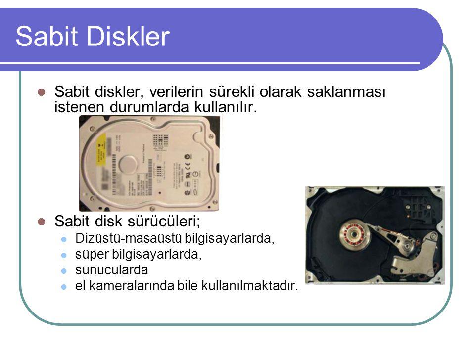 Sabit Diskler Sabit diskler, verilerin sürekli olarak saklanması istenen durumlarda kullanılır.