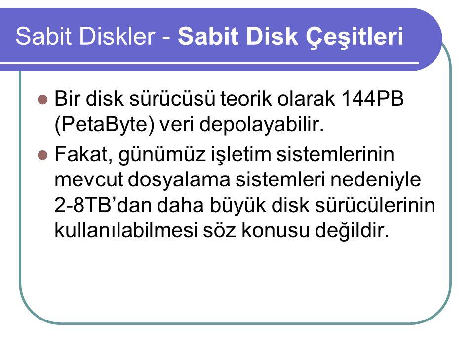 Sabit Diskler - Sabit Disk Çeşitleri Bir disk sürücüsü teorik olarak 144PB (PetaByte) veri depolayabilir.