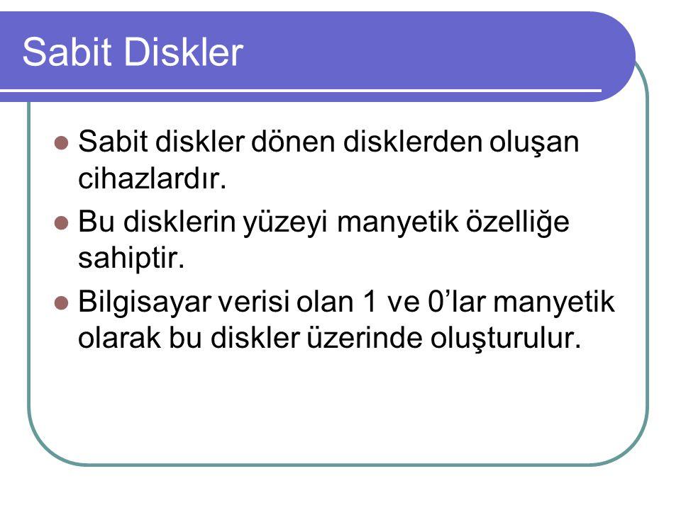 Sabit Diskler Sabit diskler dönen disklerden oluşan cihazlardır.