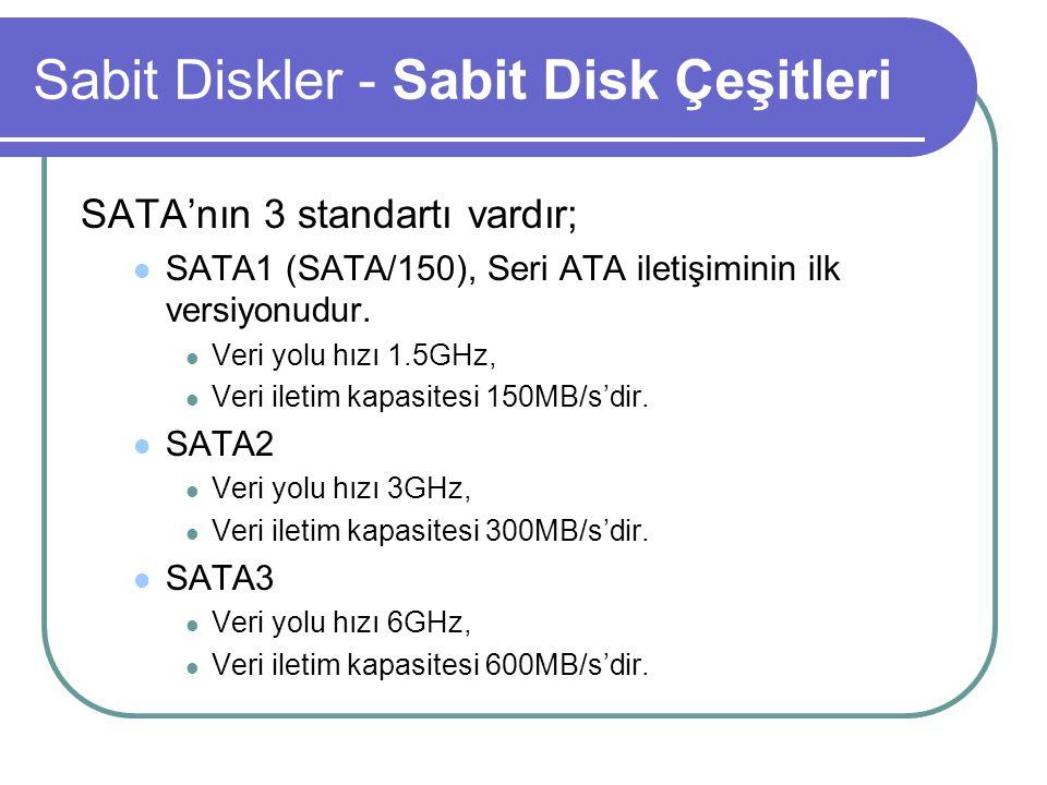 Sabit Diskler - Sabit Disk Çeşitleri SATA'nın 3 standartı vardır; SATA1 (SATA/150), Seri ATA iletişiminin ilk versiyonudur.