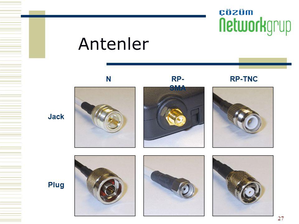 27 Jack Plug NRP- SMA RP-TNC Antenler
