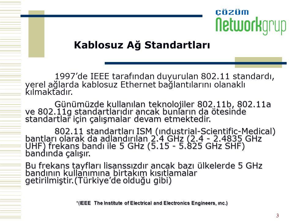 3 Kablosuz Ağ Standartları 1997'de IEEE tarafından duyurulan 802.11 standardı, yerel ağlarda kablosuz Ethernet bağlantılarını olanaklı kılmaktadır. Gü