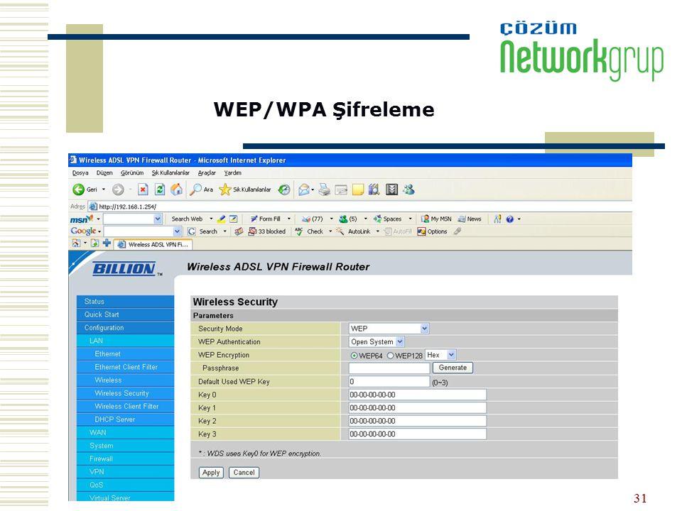 31 WEP/WPA Şifreleme